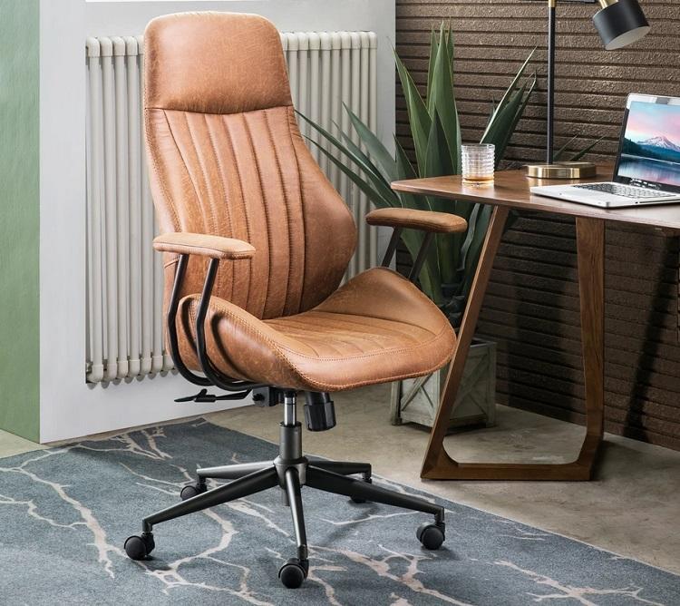 skórzany biurowy fotel obrotowy